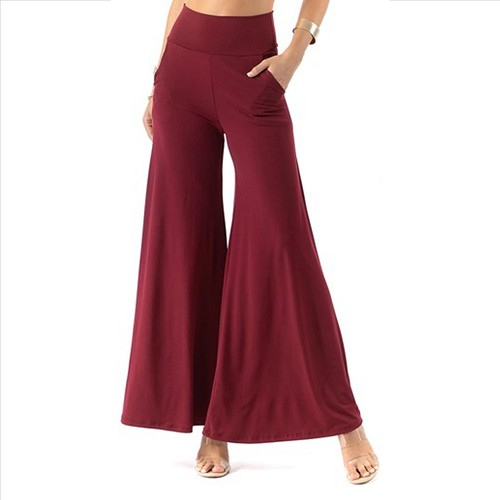 Plus Size Palazzo Pants with Pockets - Burgundy