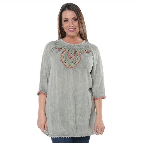 Embroidered Peasant Tunic - Sage
