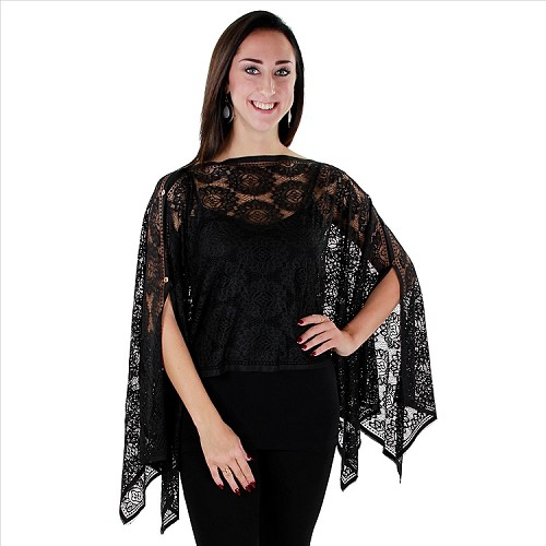 Lacy 7 Way Poncho - Black