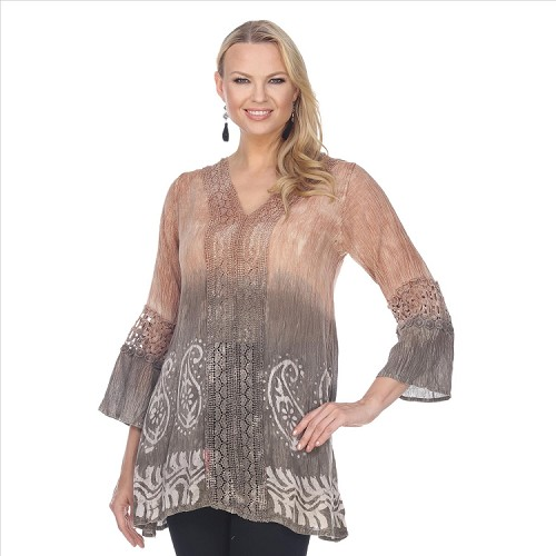 Lace Trimmed Tie Dye Tunic - Brown