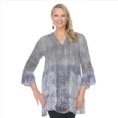 Lace Trimmed Tie Dye Tunic - Grey