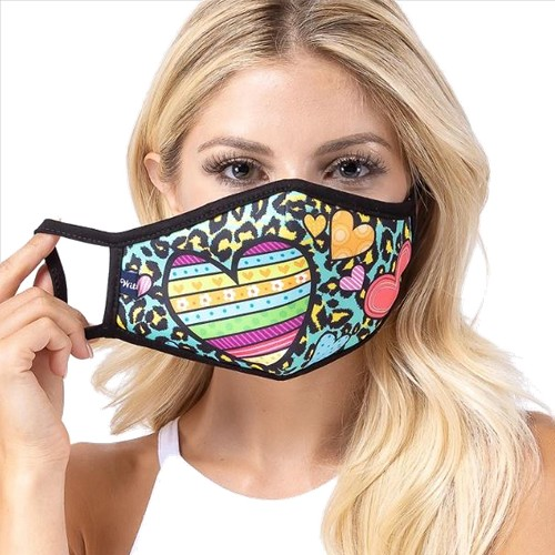 Mint Hearts Print Face Mask