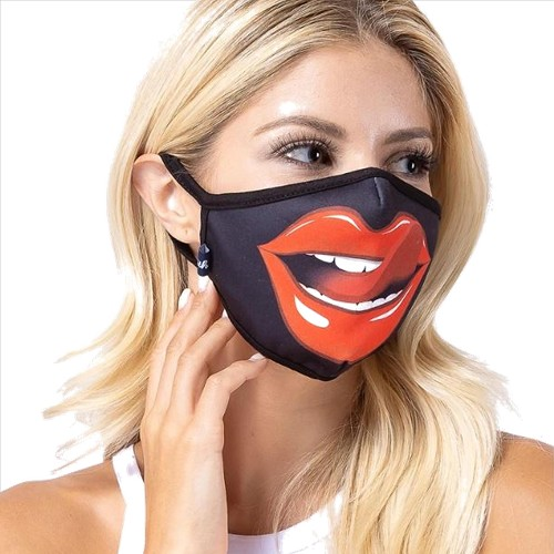 Red Lips N Tongue Face Mask - 3 Pack
