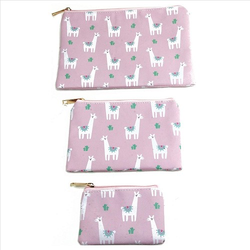 3 in 1 Cosmetic Bags - Llamas on Pink