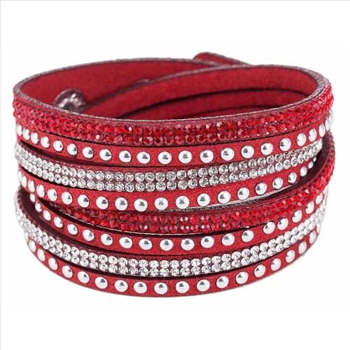 Rhinestone Wrap & Snap Bracelet - Red