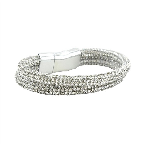 Bling Rhinestone Magnetic Clasp Bracelet - Silver