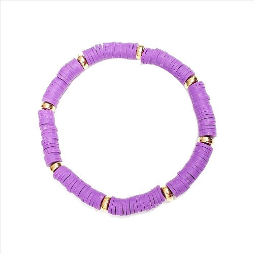 Rubber Disc and Gold Spacer Stretch Bracelet - Purple