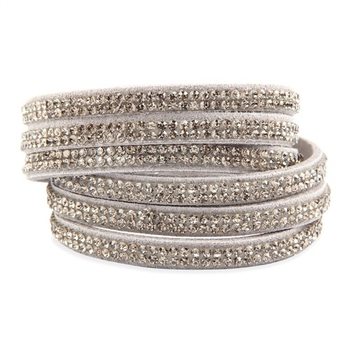 Bling Wrap & Snap Bracelet - Grey
