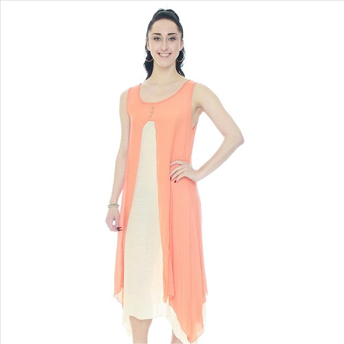 Two Piece Look Sleeveless Dress - Orange