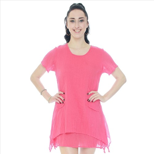 Casual Solid Cotton Layered Look Dress - Coral