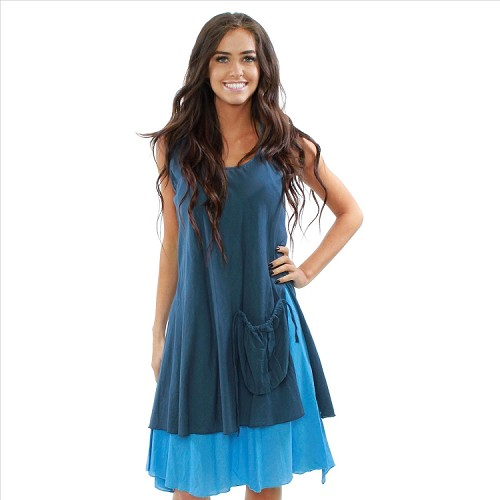 Halter / Sleeveless Layered Dress - Blue