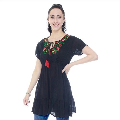 Short Sleeve Embroidered Tunic - Black