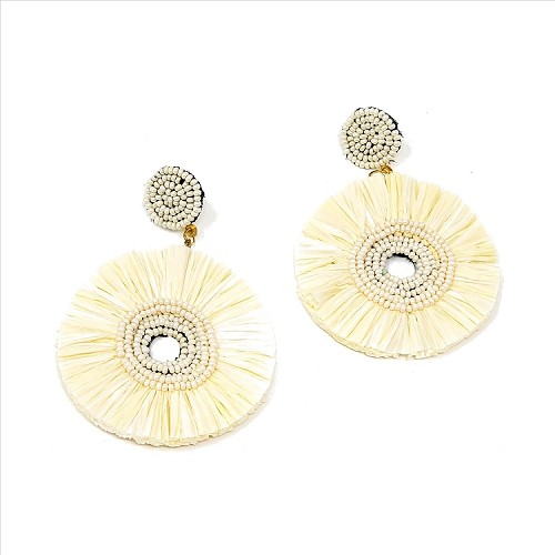 Bead and Straw Dangle Earrings - Ivory