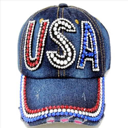 Bling USA Rhinestone Denim Adjustable Hat