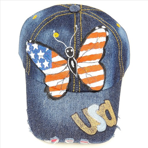 Bling Butterfly USA Hat