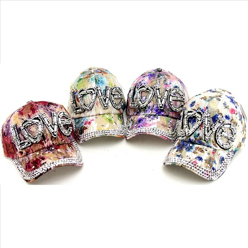 Assorted LOVE Rhinestone Floral Print Hats