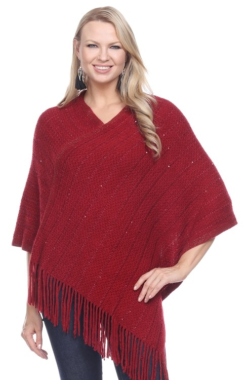 Metallic Stripe Poncho - Burgundy