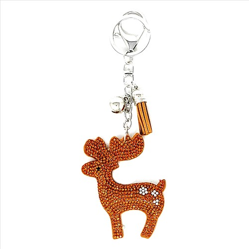 Bling Rhinestone Reindeer Puffy Tassel Key Chain