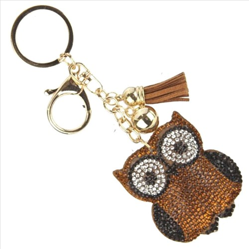 Owl Puffy Tassel Key Chain