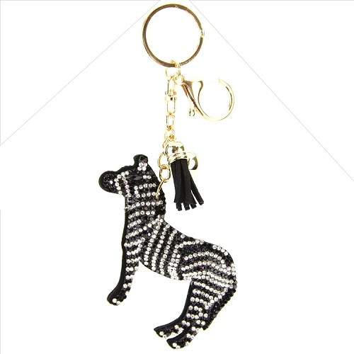 Zebra Puffy Tassel Key Chain d952f966bb