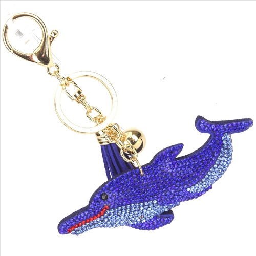 Dolphin Puffy Tassel Key Chain