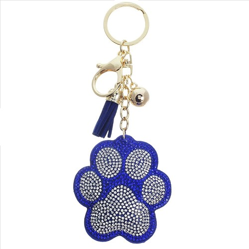 Paw Puffy Tassel Key Chain - Blue