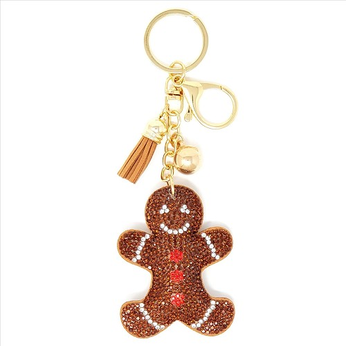 Gingerbread Man Puffy Tassel Key Chain
