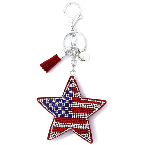 American Flag Star Puffy Tassel Key Chain