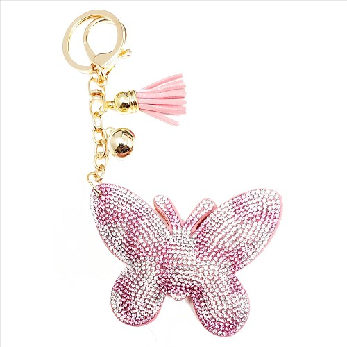 Bling Rhinestone Pink and Silver Butterfly Puffy Tassel Key Chain