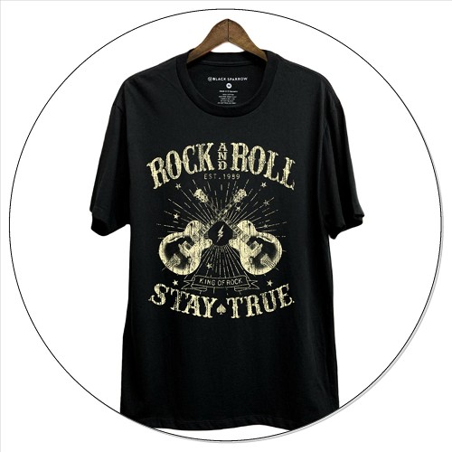 Stay True Short Sleeve Graphic Top - Black