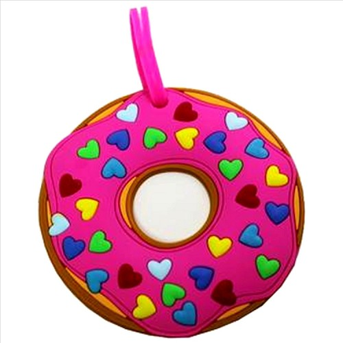 Pink Heart Sprinkle Donut Luggage Tag