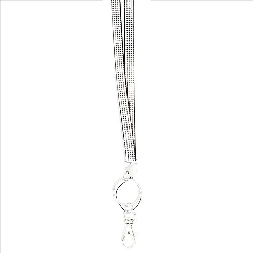 Bling Crystals on Felt Lanyard - Silver