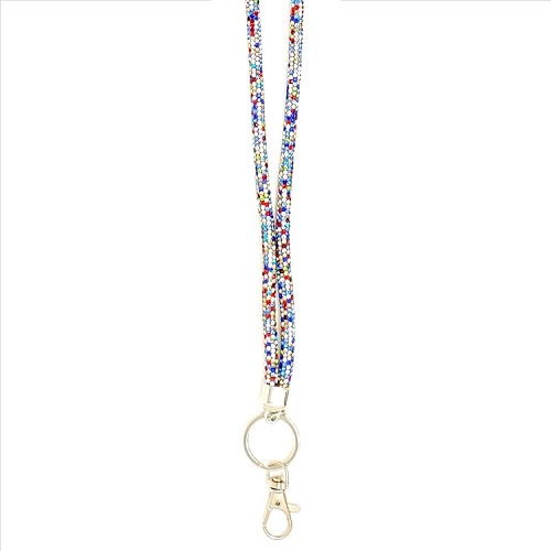 Round Bling Crystal Lanyard - Multi