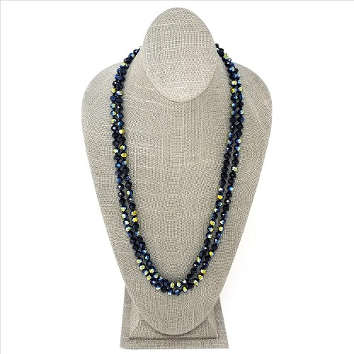 Long Faceted Glass Bead Necklace - Black Sparkle