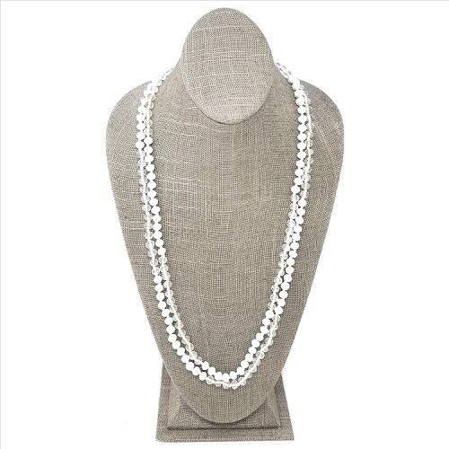 Faceted Necklace - White / Clear Sparkle