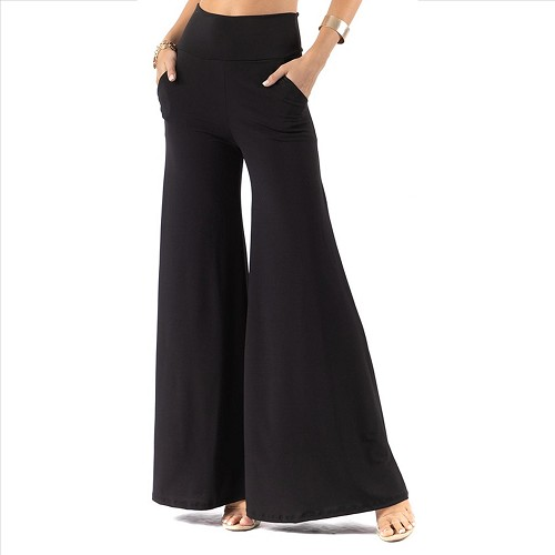Plus Size Palazzo Pants with Pockets - Black
