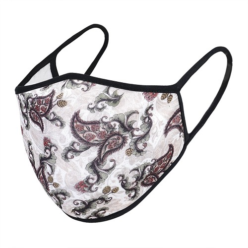 Paisley Print on White Face Mask