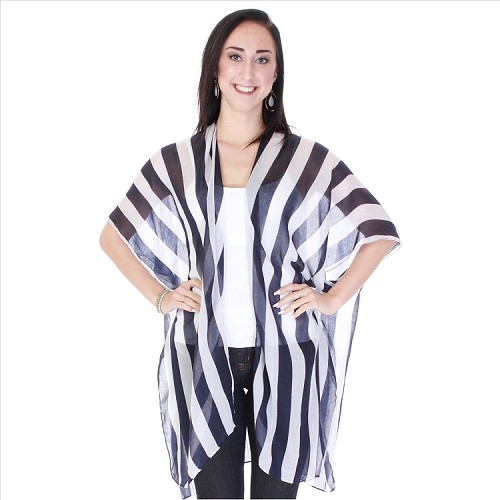 Classic Black and White Striped Kimono
