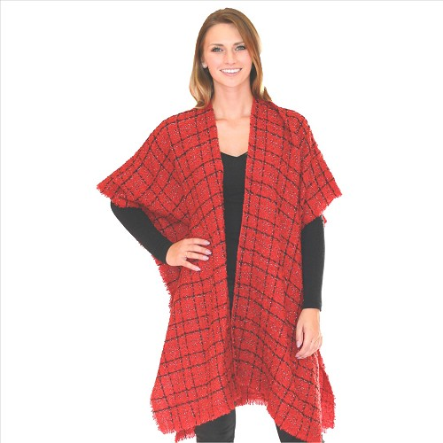 Textured Cape with Silver Accents - Red