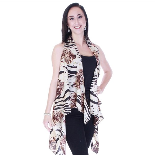 Refined Abstract Print Vest - Mocha