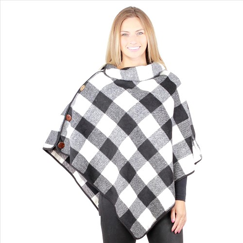 6 Pack Coconut Button Buffalo Plaid Ponchos - Black / White