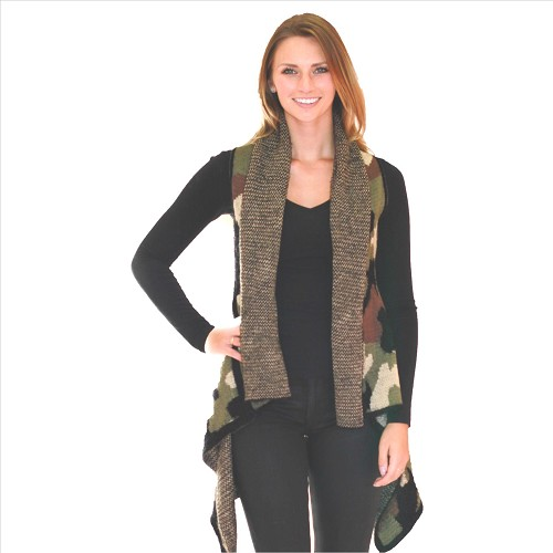 6 Pack Awesome Mohair Feel Vest - Camo Print Green