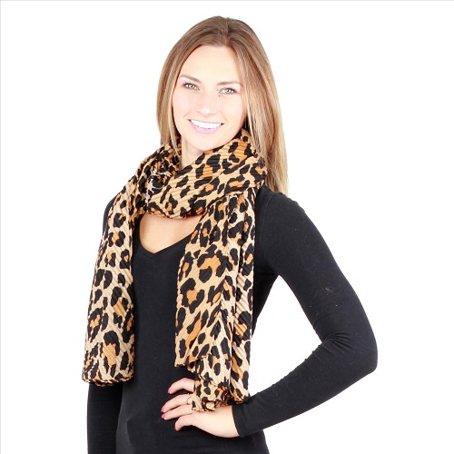 Awesome Pleated Scarves - Cheetah Brown Orange