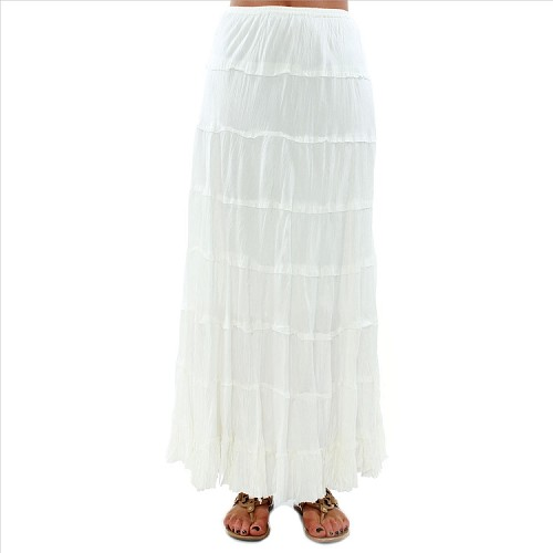 Cotton Tiered Skirt - White