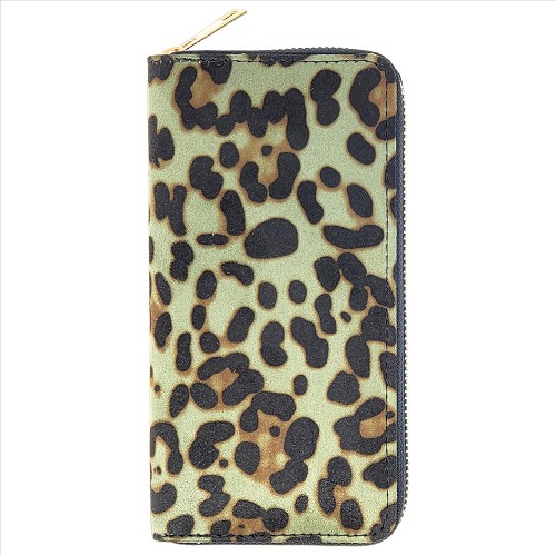 Camo Print Ultra-Suede Wallets - Green